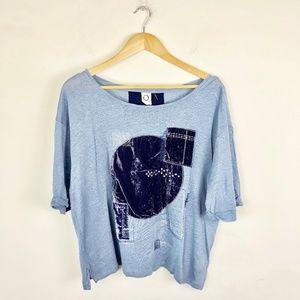 Akemi + Kin Anthropologie Velvet Patchwork Shirt